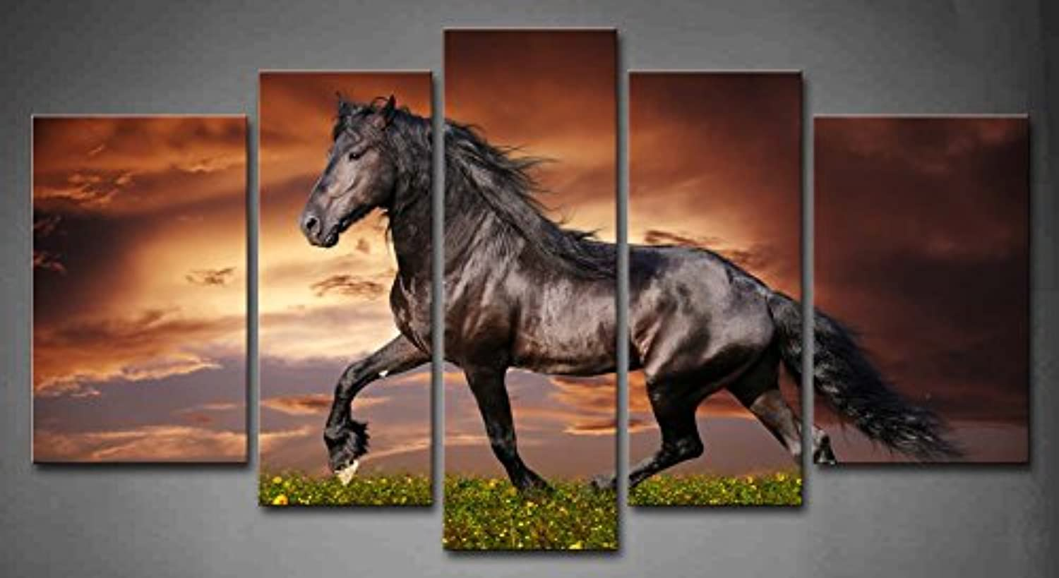 5 Panel Wall Art Black Friesian Running Horse Tred On The Field On Sunset Grass And Flower Painting Pictures Print On Canvas Animal The Picture For Home Modern Decoration piece (A)