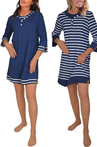 Consult-Tex Damen 2/3 Langarm Nachthemd 2 Stück Packung DW725/726, 100% Baumwolle Jersey (52/54, blau)