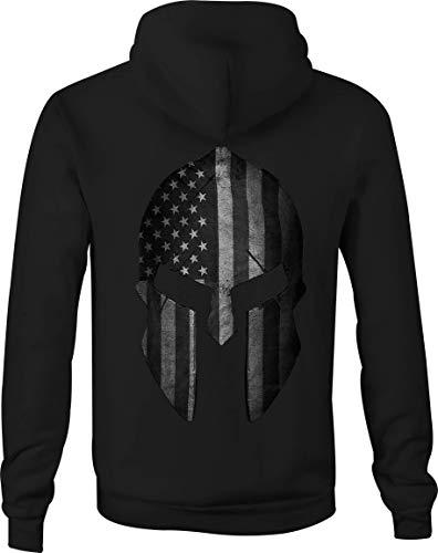 Zip Up Hoodie Distressed Military American Flag Spartan Helmet - Large Black