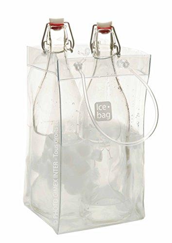 Gimex 17411Ice Bag Basic Flaschenkühler, King Size, 2Flaschen oder 1Magnumflasche, transparent, 33x 2x 18cm