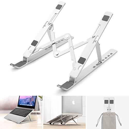 NASFUEY Laptop-ställ, justerbar justerbar stång med flera höjder, bärbar vikbar laptophållare, ventilerad aluminiumhållare för värmeavledning, kompatibel med alla notebook/iPad Air/Mini/MacBook