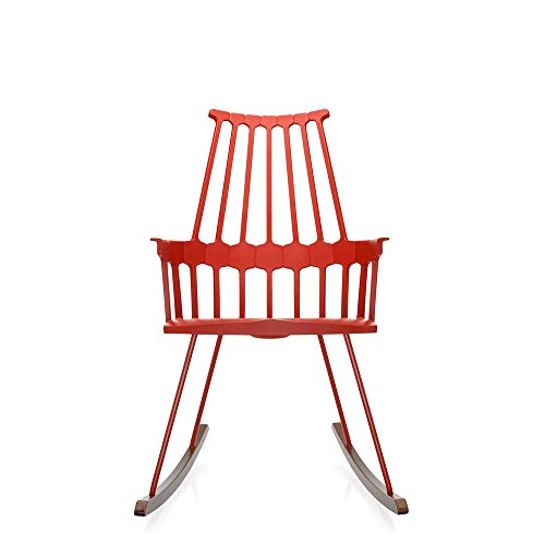 Kartell Comback Orange red Rocking Armchair with Oak sled