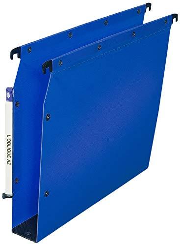 Elba Ultimate PP Lot de 10 Dossiers Suspendus en Polypro Opaque pour Armoire Fond 50mm Bleu