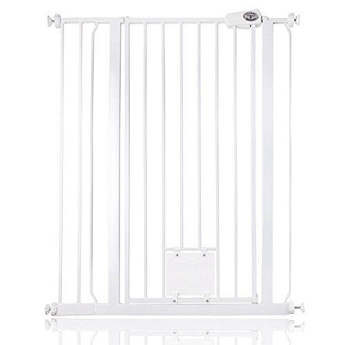 Bettacare Gate with Lockable Cat Flap Pressure Fitted Gate 75cm - 148.7cm Stair and Pet Gate (87.9cm - 95.5cm, White)