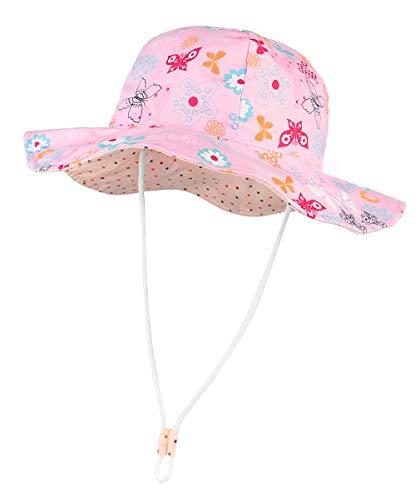 Lukis Bob - Sombrero antirayos UV para bebé o niña, algodón, plegable, gorra de sol de princesa rosa y flor de mariposa, bonito verano, playa, viajes al aire libre rosa 6-12 Meses
