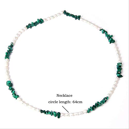 YMKCMC Collar Gravel Chip Stone Collares Oval Pearl Beaded Chockers Green Turquoises Opal Pink Chains Mujeres Joyas Regalos 64Cm Phoenix Stone