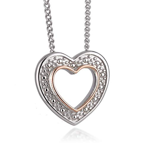 Clogau Womens Sterling Silver Rose and Welsh Gold Heart Pendant