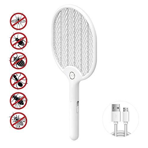 LFNIU Insektenvernichter AmeisenElektrische Fliegenklatsche, 3000 Volt Fliegenwanze, Zapper-Schläger-Moskito-Mörder, mit USB-Akku und hellem LED-Licht