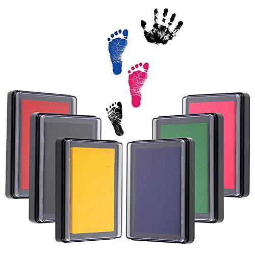 Baby Stempelkissen, 6 Stück Baby Fußabdruck und Handabdruck, Baby Fuß - oder Hand-Abdruckset Set (6 Farben)