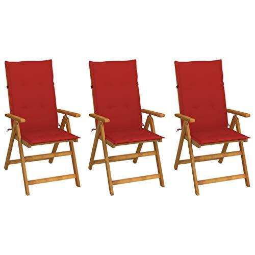 vidaXL 3X Akazienholz Massiv Gartenstuhl Klappbar mit Auflagen Klappstuhl Hochlehner Stuhl Stühle Gartensessel Holzstuhl Gartenstühle