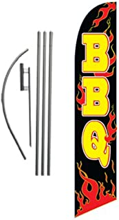 Barbeque BBQ Advertising Feather Banner Swooper Flag Sign with Flag Pole Kit and Ground Stake