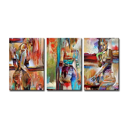 Lienzo de 3 piezas para pared de sala de estar, 3 paneles, arte de pared, decoración de pared, regalo de cumpleaños, niñas coloridas (tamaño: 50 cm x 70 cm x 3 piezas)