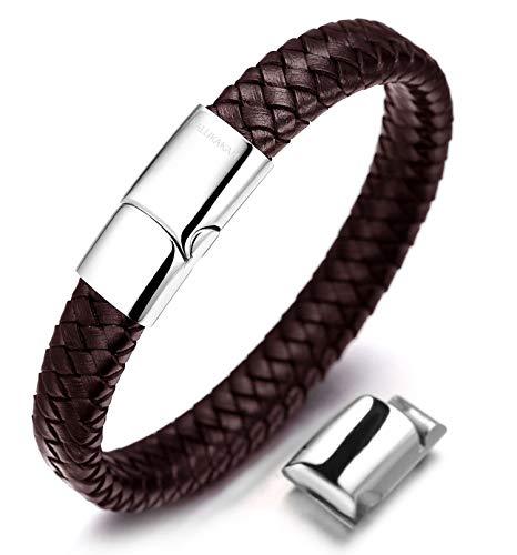 Halukakah Plus ● Solo ● Herren-Armband Handgefertigt | Echtleder in Braun | Kreuzgeflecht | Magnetverschluss aus Edelstahl in Silber | KOSTENLOS Geschenkbox | Größe Einstellbar 21.5cm-23cm