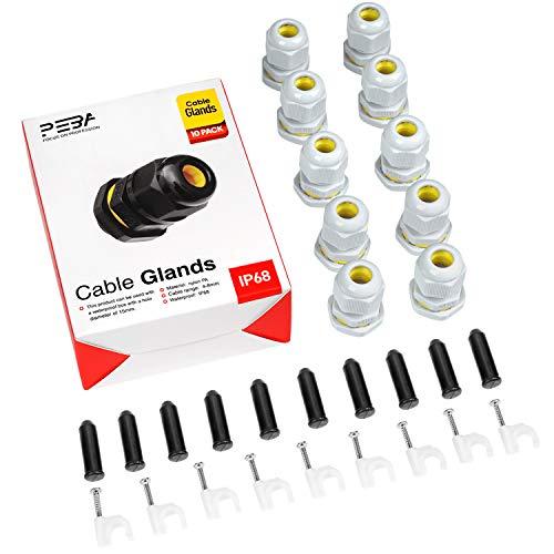 Kabelverschraubung Set Wasserdichte IP68 Kabelsteckverbinder mit Gegenmutter Kunststoff Schwarz M16 für 4mm-8mm Kabeldurchmesser Weiß(10er-Pack)