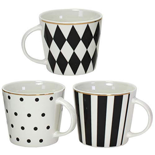 Maikai 3er Set Tassen Schwarz Weiß mit Goldrand Kaffeebecher FM 410 ml Kaffeetasse Modern DREI Motive
