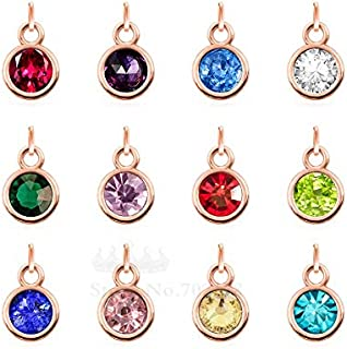rose gold birthstone charms