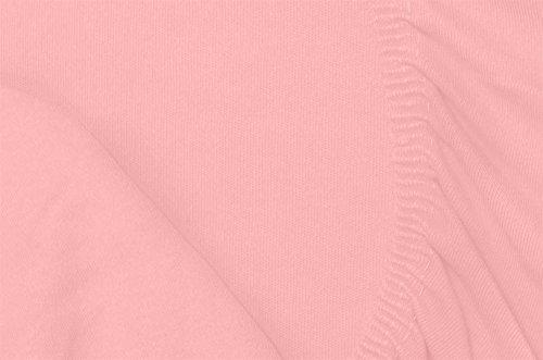 #4 Double Jersey Jersey Spannbettlaken, Spannbetttuch, Bettlaken, 160x200x30 cm, Rosa - 7
