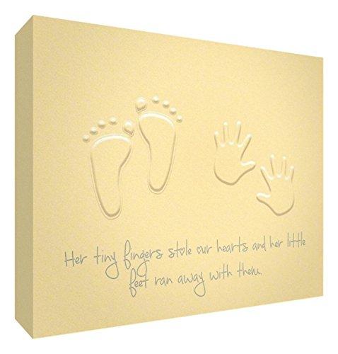 Feel Good Art Galerie enveloppé Nursery toile moderne en design (20 x 30 x 3 cm, petit, bouton d'or, jaune, ses petits pieds Stole nos cœurs)