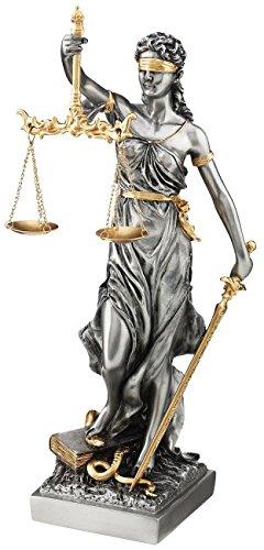 Römische Justitia 33cm mit Schwert, Waage und Gesetzbuch mit Blattgold verfeinert