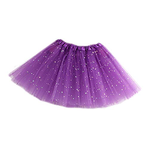 Falda para niña tutú plisada de tres capas con lentejuelas brillantes con diseño de estrellas morado oscuro Talla única