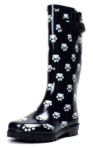 OwnShoe Women's Fashion Rain Boots Multiple Styles Available Waterproof (8, Paw)