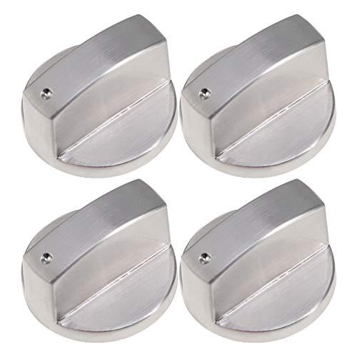 DOITOOL 4 Piezas de Control de Quemador Superior Perilla de Interruptor de Cocina de Gas de Aleación de Zinc Perilla de Interruptor Giratorio Ángulo Recto 0 ° Perilla de Control de