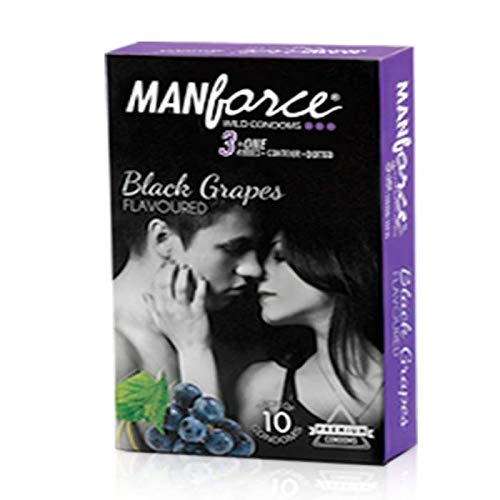 Manforce Wild Black Grapes Condoms (2 Pack) 3 in One Ribbed Contour Dotted Pack