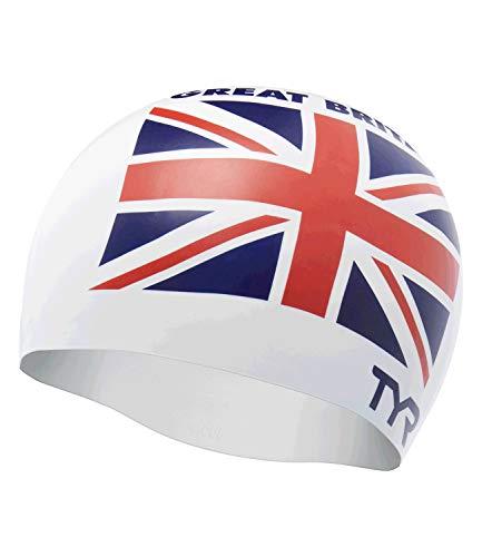 TYR Great Britain Silicone Fit, Cuffia da Piscina con Bandiera United Kingdom Unisex-Adult, White