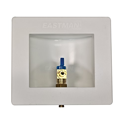 Eastman 60233 PEX Pre-assembled Ice Maker Outlet Box, 1/2 Inch Crimp PEX Connection with Installed 1/4-Turn Ball Valve, White