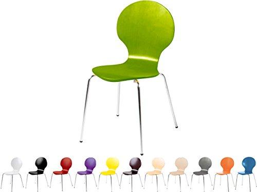 Stapelstuhl Bistrostuhl Stuhl Esszimmerstuhl Küchenstuhl Design Metall Holz stapelbar sehr belastbar Marcus (Grün)