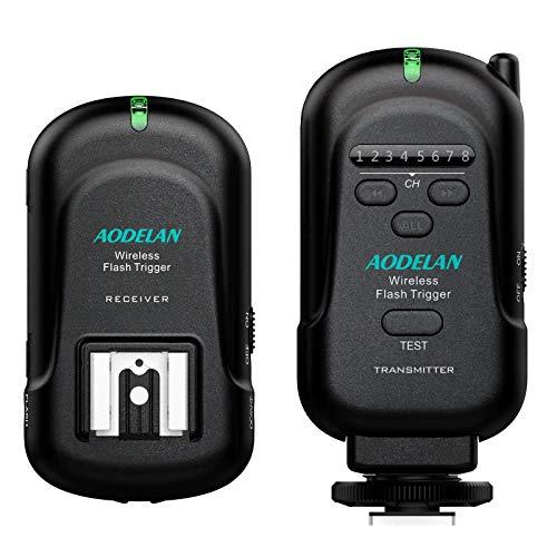 AODELAN Flash Trigger Transmitter and Receiver with Universal Hot Shoe for Canon, Nikon, Olympus, Panasonic, Pentax, Fuji, Samsung, Sony