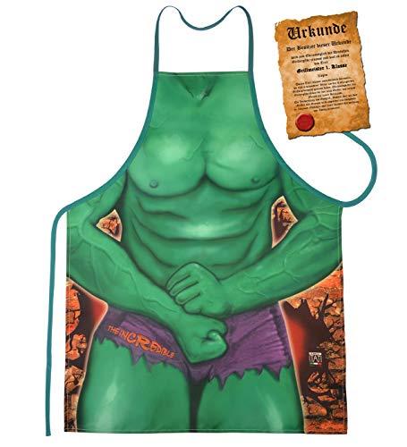 Mega grote carnaval artikel schort BBQ-schort kookschort met gratis certificaat - groene spierman - super grappig artikel cadeau-idee