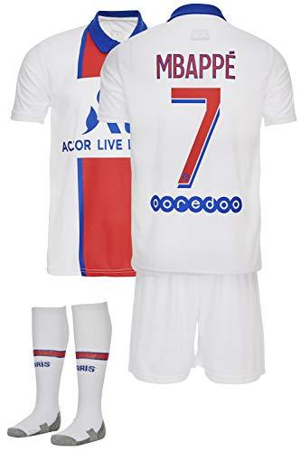 AMD SPORTS Paris 2020-21 Away Maillots de Football pour Enfants Mbappe avec des Chaussettes Et des Shorts, (Tailles Enfants 2-14 Ans)… (Mbappe Away, 128)