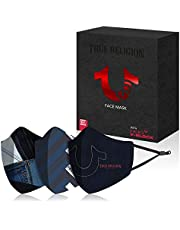 True Religion Exclusive Designer Face Mask with HeiQ Viroblock and Smart Temp Comfort - Luxury Printed Face Covers (Independence Blue)