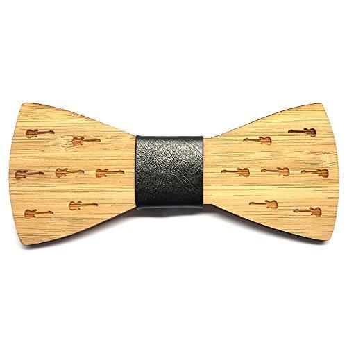 BOBIJOO Jewelry - Guitarras de Rock decoración Pajarita Madera bambú Hombre Cuero
