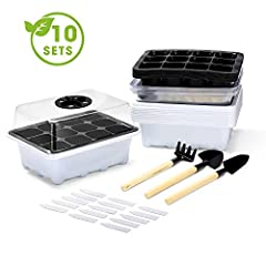 【PACKAGE INCLUDE】 - 10 x Seed Tray, 10 x Watertight Base Tray, 10 x Humidity Dome, 20 x Plant Labels,3 x Plant Tools. 【Pretium Material】Compare the cheap PVC material, Our seed trays use PP material for vents to regulate inner seedling trays temperat...