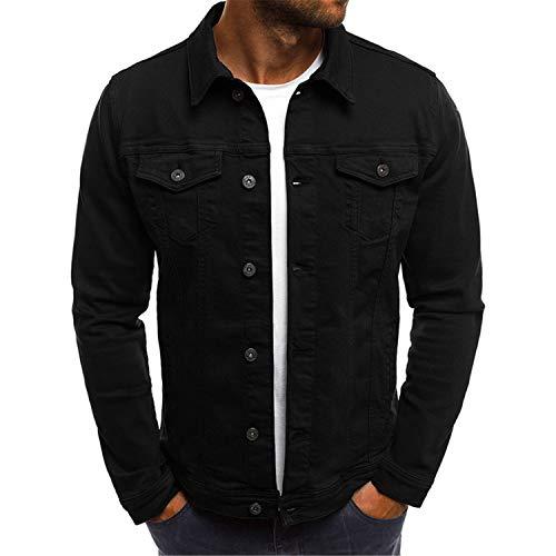 Slim Jeans Jackets Fashion Streetwear Casual Denim Jacket Turn-Down Collar Single Breasted Black jeans1 L