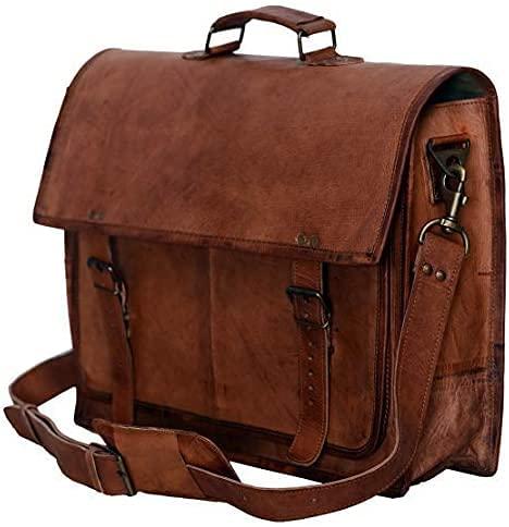 LLB Leather Arts Borsa a tracolla per laptop in vera pelle da 18 pollici 022
