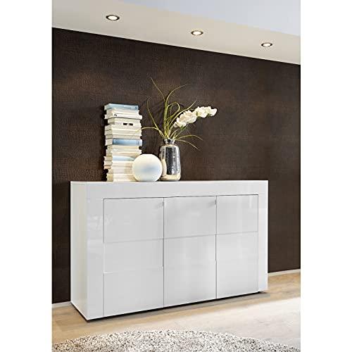 Shiito - Aparador Compuesto por 3 Puertas, Fabricado en Color Blanco Lacado. Modelo Easy 209071-05 en Blanco Brillo