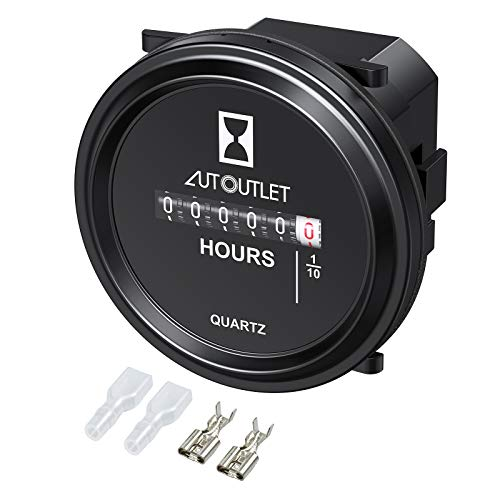 AUTOUTLET Mechanical Round Hour Meter Gauge AC/DC 6V-80V Professional Quartz Hour Meter 2 Inch Hourmeter for Boat Auto ATV Snowmobile Lawn Mower Tractors Vehicle Cars Trucks Marine Generator Engine