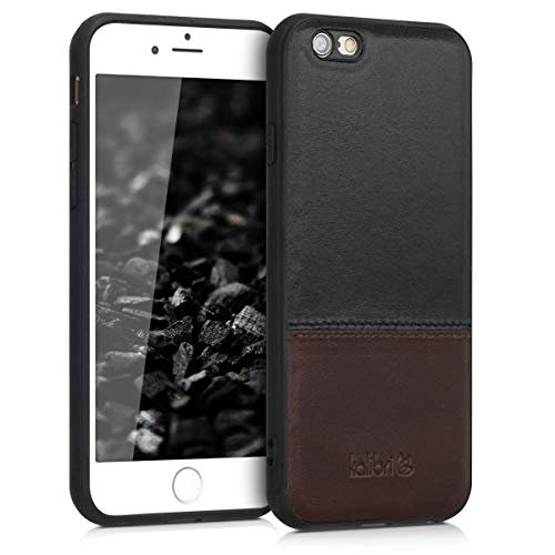 kalibri Leder Hülle kompatibel mit Apple iPhone 6 / 6S - Handyhülle Cover - Handy Hardcover Schutzhülle Bumper Schwarz Braun
