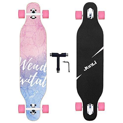 Junli 41 Freeride Longboard Skateboard - Skateboard Cruiser für Cruising, Carving und Downhill (Fantasy