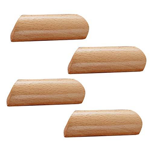 4 Pieza Tiradores para Cajones Madera Tiradores Madera Tiradores Madera de Muebles Armario de Madera arco en Forma de Mango Tiradores Cocina Manija de Madera Maciza(Hole distance:64mm)