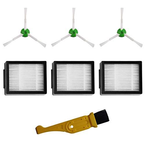 MIRTUX Kit de Accesorios de Repuesto para Roomba E5 / i7. Pack de recambios de cepillos Laterales y filtros HEPA Compatible Roomba E5 E6 i7 i7+. Reemplazo de 3 cepillos y 3 filtros + Limpiador.