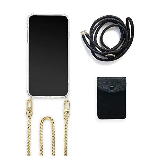 Jalouza Handykette-Set kompatibel mit Apple iPhone 11, Kartenfach mit RFID Schutz + Kette mit Handy Hülle zum Umhängen + Schwarze Kordel als Ersatz-Band, Designed in Berlin