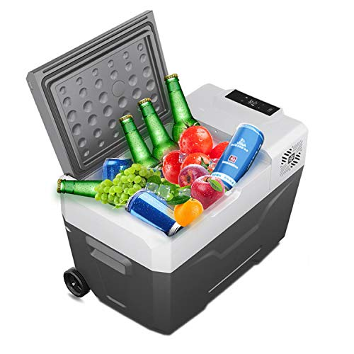 Portable Car Fridge, MONODEAL Electric Cooler 12 Volt Iceless Car/Truck/Van/RV Refrigerator and Freezer for Driving, Outdoor Working and Travel, Camping, Picnic, BBQ, Patio (30 Quart)