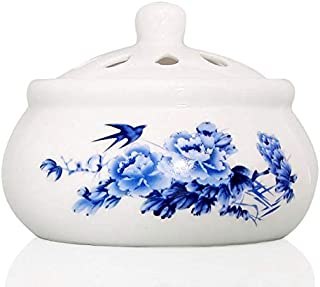 Ceramic Wax Melts Warmer Scented Tart Warmer Essential Oils Warmer Essence Burner Flameless Wax Cube Melter (Blue)