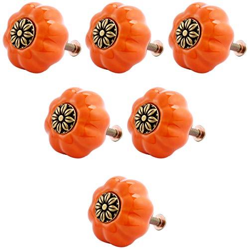 Creatwls 6pcs Möbelknopf Möbelknauf Möbelgriff Keramik Knöpfe Zieht Griffe für Schublade Schrank Kommode Kleiderschrank Möbel Tür Küche mit Schraube - Orange