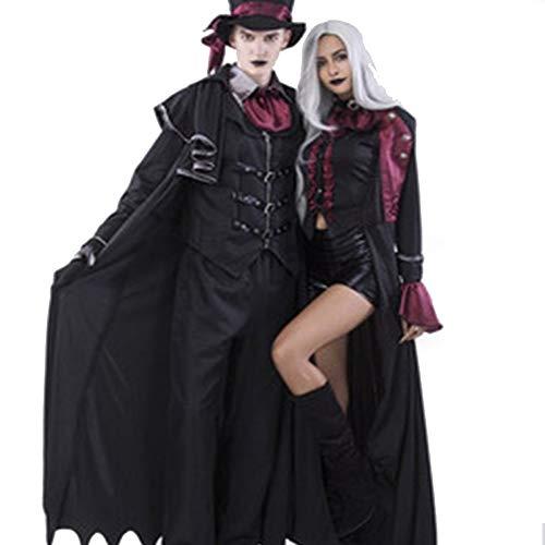TUWEN Horror Di Halloween Vampire Costume Ghost Festival Mago Prestazioni Costume Fantasma Mantello Mantello Coppia Vampiro Cos Costume