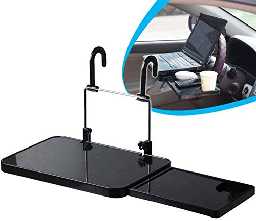 Universal Steering Rack, Multifunctional Car Steering Wheel Tray Laptop Stand with Pulled Out a Small Table, Height Adjustable, Easy Installation